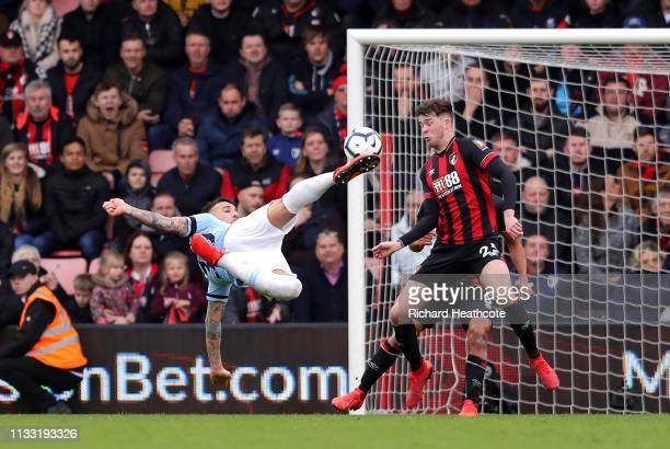 Nicolas Otamendi of Manchester City attempts an acrobatic shot during the Premier League match between AFC Bournemouth and Manchester City at...