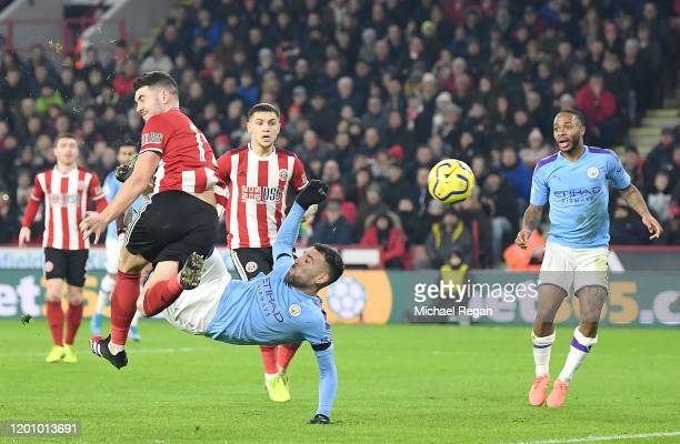 Nicolas Otamendi of Manchester City attempts an overhead kick during the Premier League match between Sheffield United and Manchester City at Bramall...