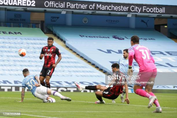 Nicolas Otamendi of Manchester City blocks Dominic Solanke of Bournemouth's goal bound shot during the Premier League match between Manchester City...