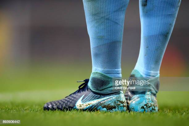 Nicolas Otamendi of Manchester City boots are seen with his name on during the Premier League match between Manchester City and Tottenham Hotspur at...
