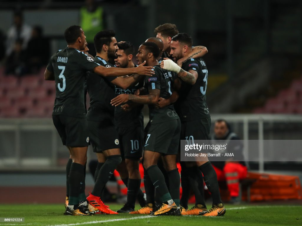 Nicolas Otamendi of Manchester City celebrates after scoring a goal to make it 1-1 during the UEFA Champions League group F match between SSC Napoli and Manchester City at Stadio San Paolo on November 1, 2017 in Naples, Italy.
