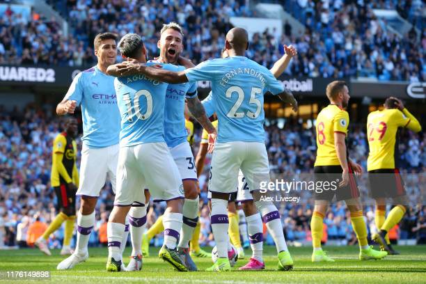 Nicolas Otamendi of Manchester City celebrates after scoring his team's fifth goal with team mates during the Premier League match between Manchester...