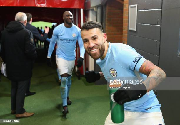 Nicolas Otamendi of Manchester City celebrates after the Premier League match between Manchester United and Manchester City at Old Trafford on...