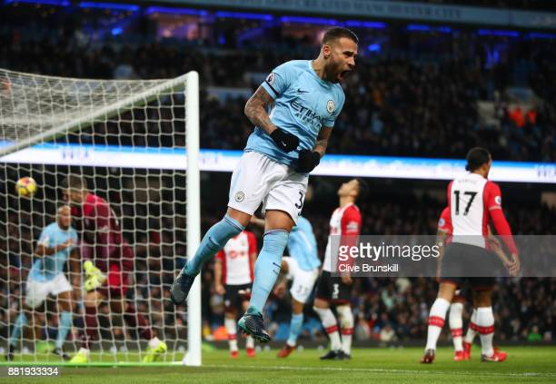 Nicolas Otamendi of Manchester City celebrates his sides first goal as Virgil van Dijk of Southampton scored a own goal during the Premier League...