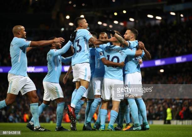 Nicolas Otamendi of Manchester City celebrates his sides fist goal with his Manchester City team mates after Virgil van Dijk of Southampton scored a...