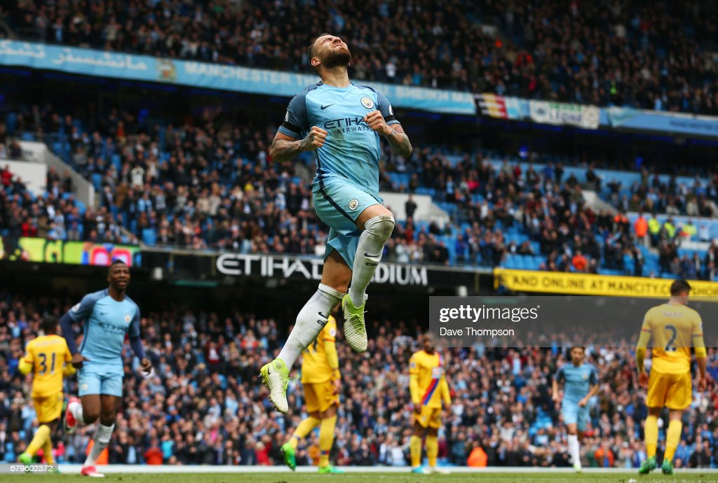Nicolas Otamendi of Manchester City celebrates scoring his sides fifth goal during the Premier League match between Manchester City and Crystal Palace at the Etihad Stadium on May 6, 2017 in Manchester, England.