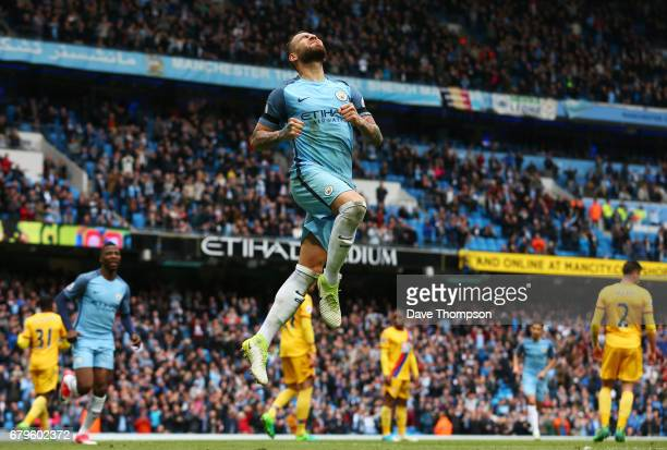 Nicolas Otamendi of Manchester City celebrates scoring his sides fifth goal during the Premier League match between Manchester City and Crystal...