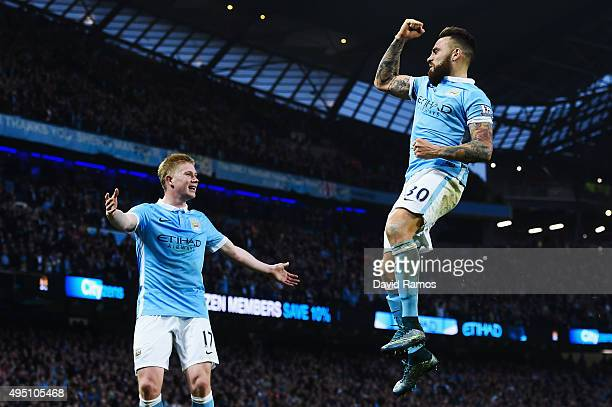 Nicolas Otamendi of Manchester City celebrates scoring his team's first goal with his team mate Kevin de Bruyne during the Barclays Premier League...