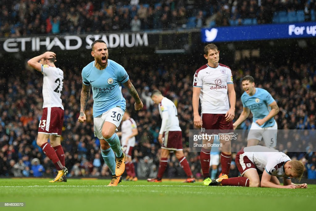 Nicolas Otamendi of Manchester City celebrates scoring the 2nd Manchester City goal during the Premier League match between Manchester City and Burnley at Etihad Stadium on October 21, 2017 in Manchester, England.