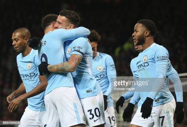 Nicolas Otamendi of Manchester City celebrates scoring the 2nd Manchester City goal with team mates during the Premier League match between...