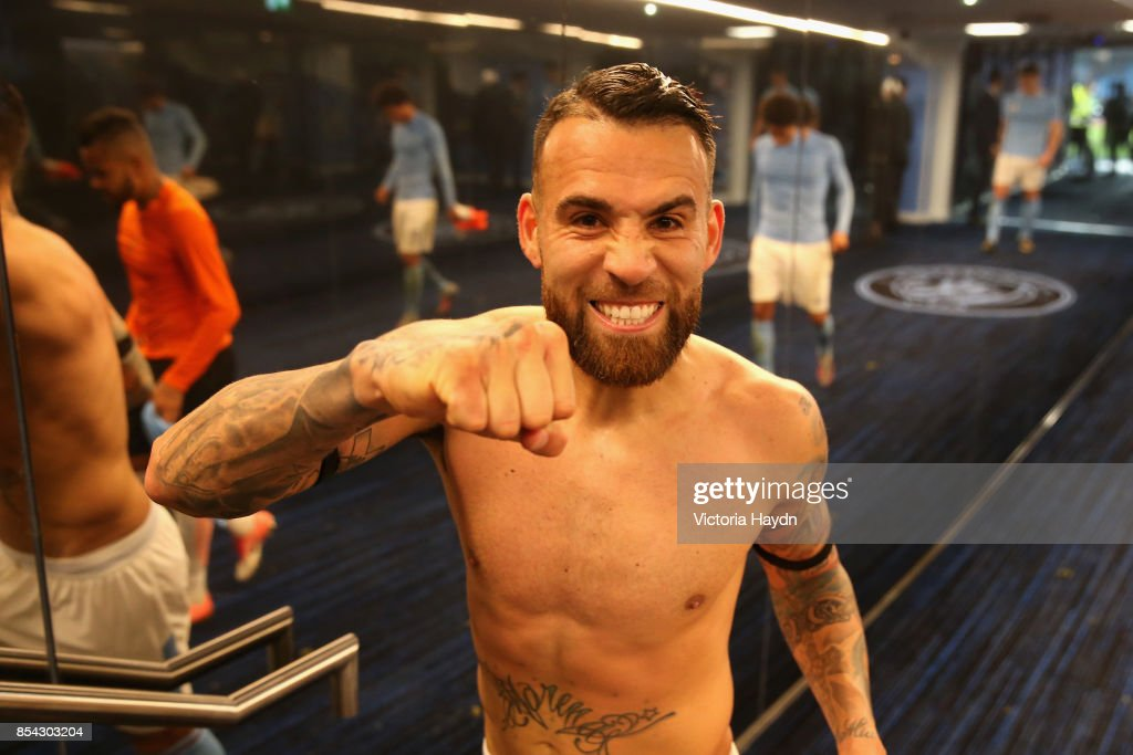 Nicolas Otamendi of Manchester City celebrates victroy in the tunnel after the UEFA Champions League Group F match between Manchester City and Shakhtar Donetsk at Etihad Stadium on September 26, 2017 in Manchester, United Kingdom.