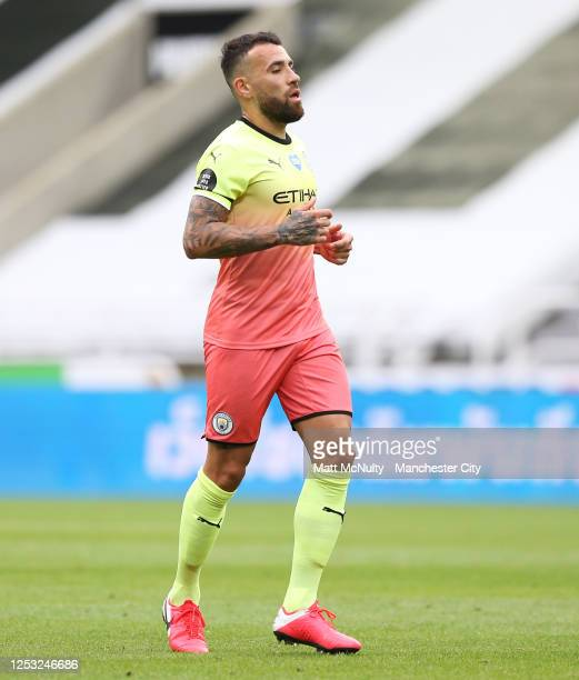Nicolas Otamendi of Manchester City during the FA Cup Quarter Final match between Newcastle United and Manchester City at St James Park on June 28...