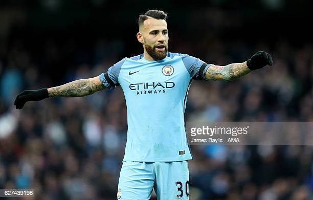 Nicolas Otamendi of Manchester City during the Premier League match between Manchester City and Chelsea at Etihad Stadium on December 3 2016 in...