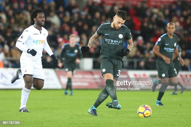Nicolas Otamendi of Manchester City during the Premier League match between Swansea City and Manchester City at the Liberty Stadium on December 13...