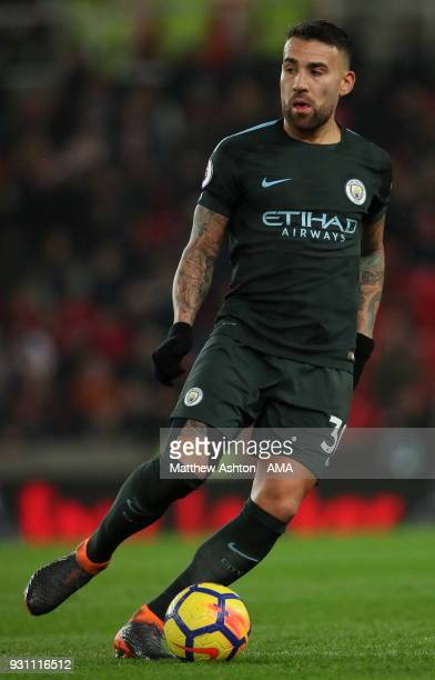 Nicolas Otamendi of Manchester City during the Premier League match between Stoke City and Manchester City at Bet365 Stadium on March 12 2018 in...