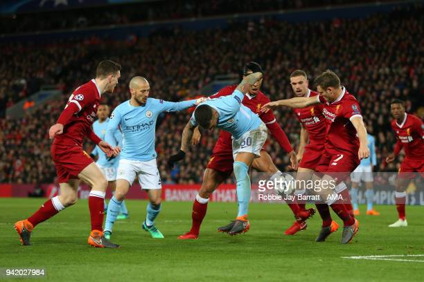 Nicolas Otamendi of Manchester City gets crowded out during the UEFA Champions League Quarter Final Leg One match between Liverpool and Manchester...