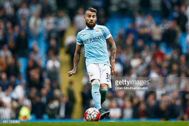 Nicolas Otamendi of Manchester City in action during the Barclays Premier League match between Manchester City and Newcastle United at Etihad Stadium...