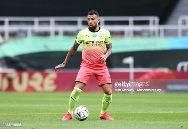 Nicolas Otamendi of Manchester City in action during the FA Cup Quarter Final match between Newcastle United and Manchester City at St James Park on...