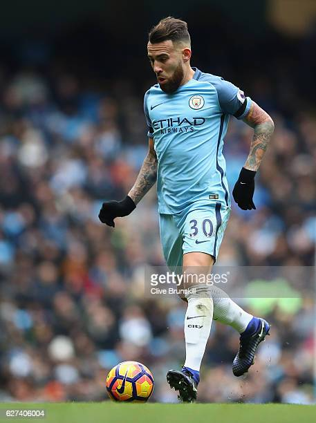 Nicolas Otamendi of Manchester City in action during the Premier League match between Manchester City and Chelsea at Etihad Stadium on December 3...