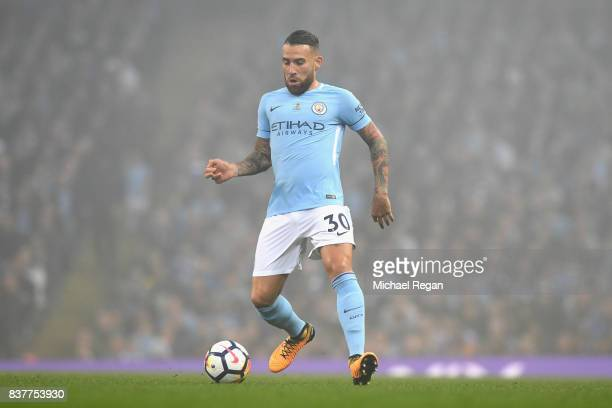 Nicolas Otamendi of Manchester City in action during the Premier League match between Manchester City and Everton at Etihad Stadium on August 21 2017...