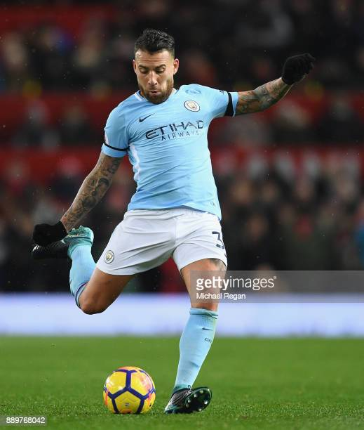 Nicolas Otamendi of Manchester City in action during the Premier League match between Manchester United and Manchester City at Old Trafford on...
