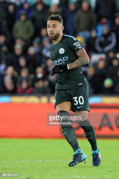 Nicolas Otamendi of Manchester City in action during the Premier League match between Swansea City and Manchester City at The Liberty Stadium on...