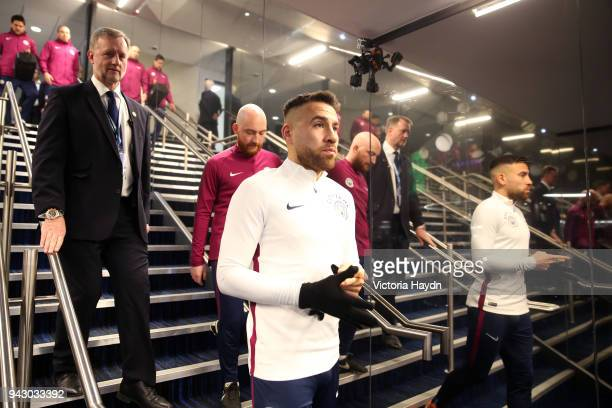 Nicolas Otamendi of Manchester City in the tunnel prior to the Premier League match between Manchester City and Manchester United at Etihad Stadium...