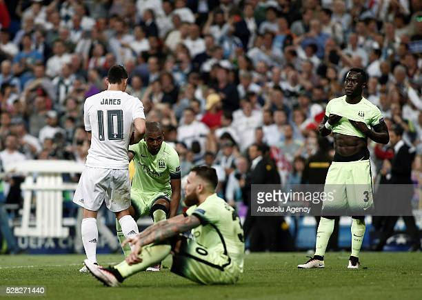 Nicolas Otamendi of Manchester City is seen after losing the UEFA Champions League semifinal second leg football match between Real Madrid and...