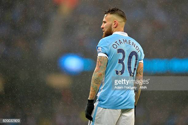 Nicolas Otamendi of Manchester City looks on during the Barclays Premier League match between Manchester City and West Bromwich Albion at Etihad...