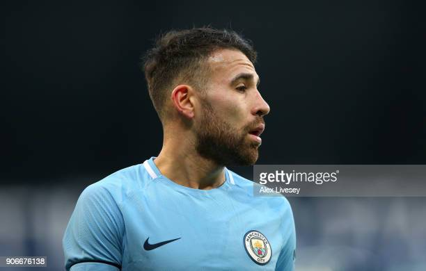 Nicolas Otamendi of Manchester City looks on during The Emirates FA Cup Third Round match between Manchester City and Burnley at Etihad Stadium on...