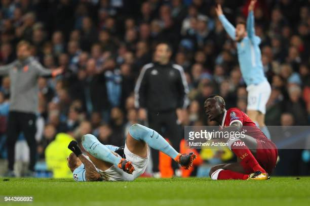 Nicolas Otamendi of Manchester City reacts after a late tackle from Sadio Mane of Liverpool during the UEFA Champions League Quarter Final Second Leg...