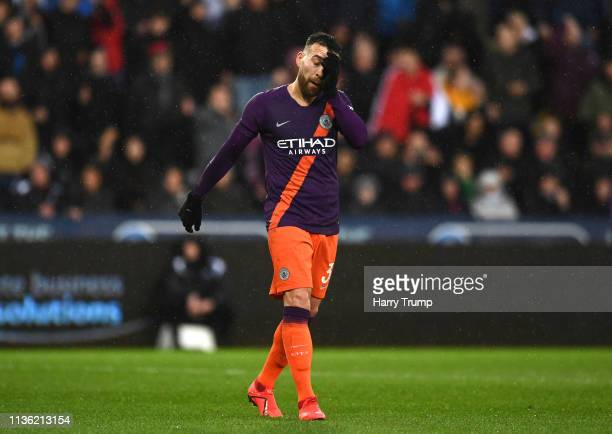 Nicolas Otamendi of Manchester City reacts during the FA Cup Quarter Final match between Swansea City and Manchester City at Liberty Stadium on March...