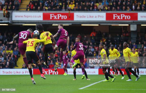 Nicolas Otamendi of Manchester City scores his sides fourth goal during the Premier League match between Watford and Manchester City at Vicarage Road...