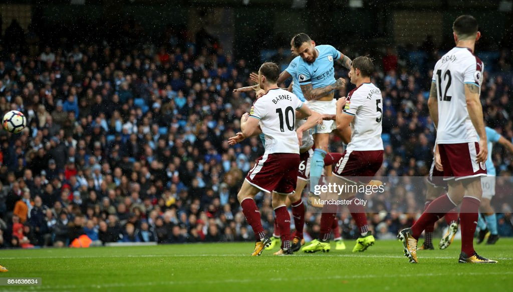 Nicolas Otamendi of Manchester City scores his side's second goal during the Premier League match between Manchester City and Burnley at Etihad Stadium on October 21, 2017 in Manchester, England.