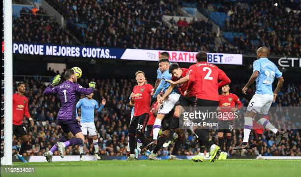 Nicolas Otamendi of Manchester City scores to make it 21 during the Premier League match between Manchester City and Manchester United at Etihad...