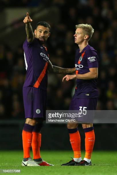Nicolas Otamendi of Manchester City speaks to Oleksandr Zinchenko of Manchester City during the Carabao Cup Third Round match between Oxford United...
