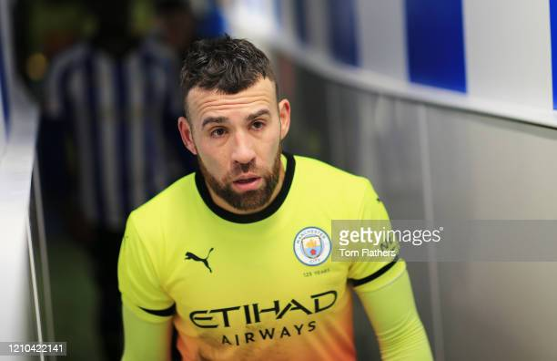 Nicolas Otamendi of Manchester City walks down the tunnel after the FA Cup Fifth Round match between Sheffield Wednesday and Manchester City at...