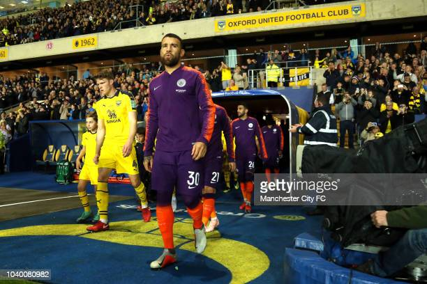 Nicolas Otamendi of Manchester City walks out prior to the Carabao Cup Third Round match between Oxford United and Manchester City at Kassam Stadium...