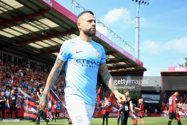 Nicolas Otamendi of Manchester City walks out prior to the Premier League match between AFC Bournemouth and Manchester City at Vitality Stadium on...