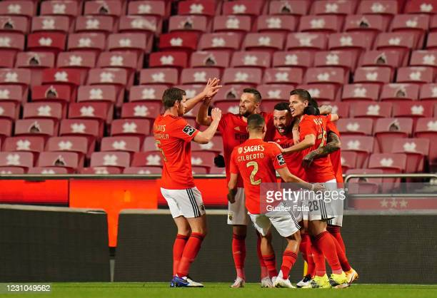 Nicolas Otamendi of SL Benfica celebrates with teammates after scoring a goal during the Liga NOS match between SL Benfica and FC Famalicao at...