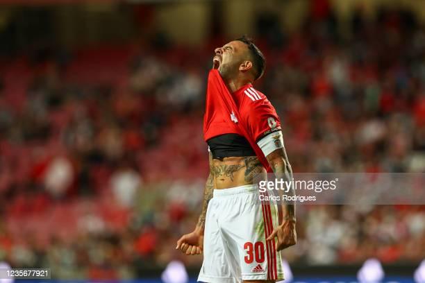 Nicolas Otamendi of SL Benfica reacts during the Liga Portugal Bwin match between SL Benfica and Portimonense SC at Estadio da Luz on October 3, 2021...