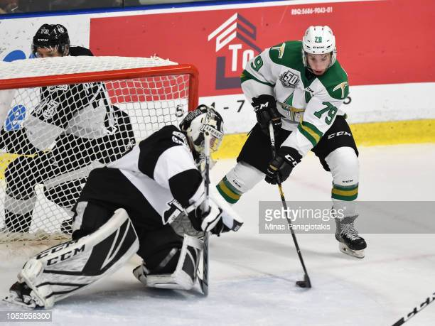 Nicolas Ouellet of the ValdOr Foreurs looks to shoot the puck on goaltender Emile Samson of the BlainvilleBoisbriand Armada during the QMJHL game at...