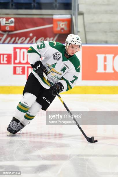 Nicolas Ouellet of the Valdu2019Or Foreurs skates the puck in the warmup prior to the QMJHL game against the BlainvilleBoisbriand Armada at Centre...