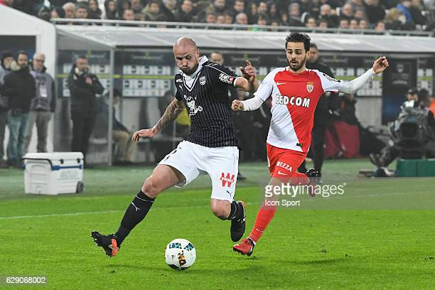 Nicolas Pallois of Bordeaux and Bernado Silva of Monaco during the French Ligue 1 match between Bordeaux and Monaco at Nouveau Stade de Bordeaux on...