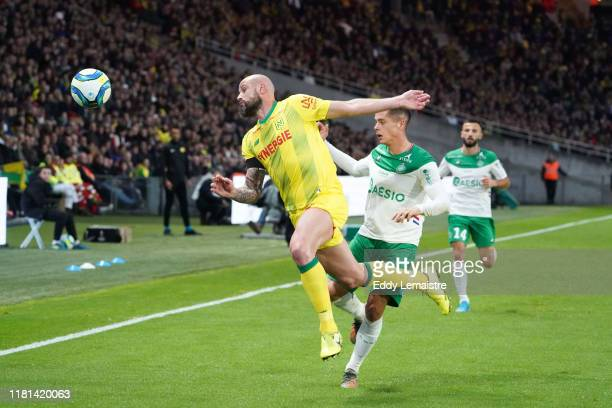 Nicolas PALLOIS of Nantes and Romain HAMOUMA of Saint Etienne during the Ligue 1 match between Nantes and Saint Etienne at Stade de la Beaujoire on...
