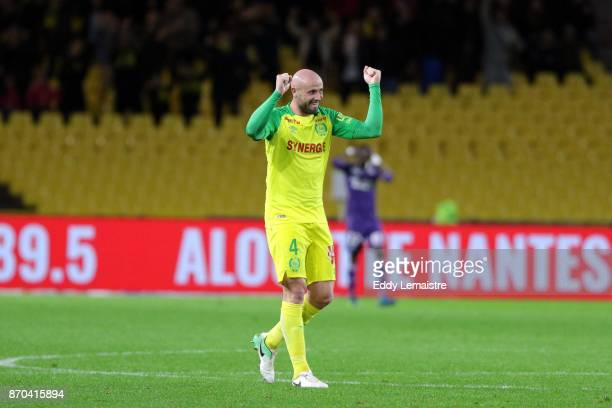 Nicolas Pallois of Nantes celebrates after Nantes scoring a goal during the Ligue 1 match between Nantes and Toulouse at Stade de la Beaujoire on...