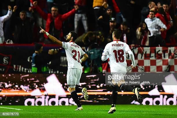 Nicolas Pareja of Sevilla celebrates scoring the first goal during the UEFA Champions League match between Sevilla FC and Juventus at Estadio Ramon...