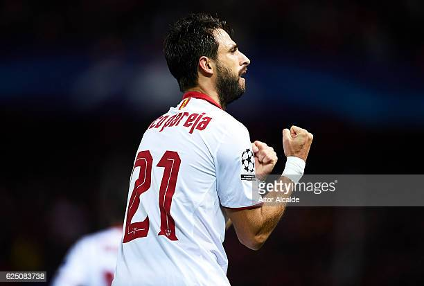 Nicolas Pareja of Sevilla FC celebrates after scoring during the UEFA Champions League match between Sevilla FC and Juventus at Estadio Ramon Sanchez...