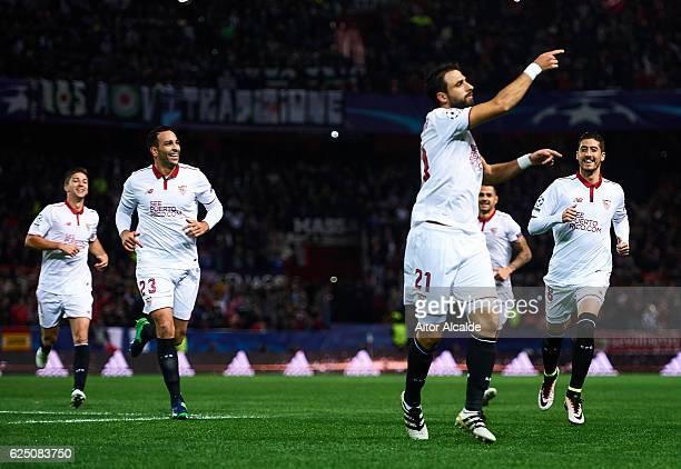Nicolas Pareja of Sevilla FC celebrates after scoring during the UEFA Champions League match between Sevilla FC and Juventus at Estadio Ramon Sanchez...