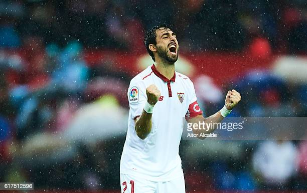 Nicolas Pareja of Sevilla FC celebrates after wining the match against Club Atletico de Madrid during the match between Sevilla FC vs Club Atletico...